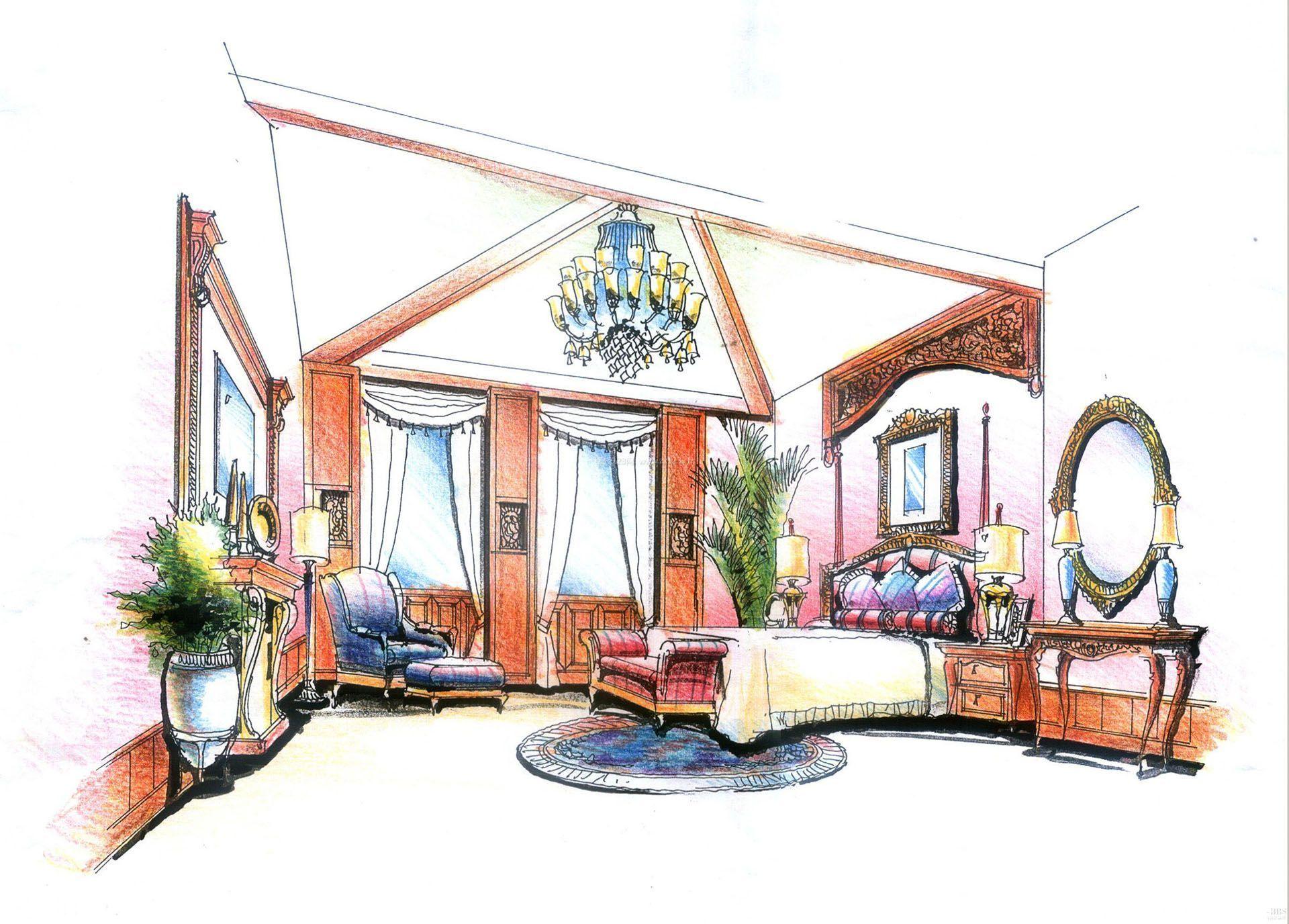 室内美式卧室家具设计手绘效果图