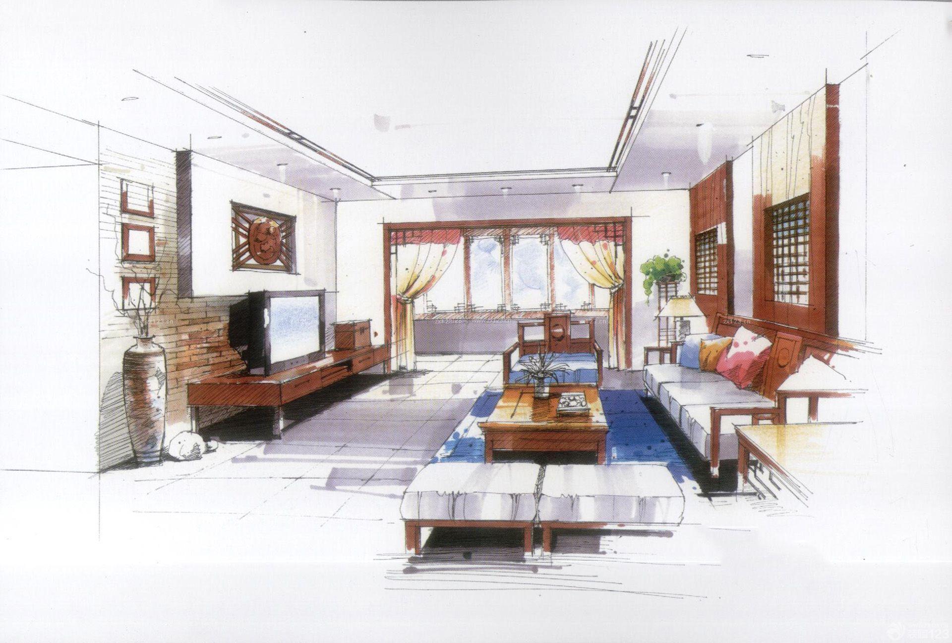 中式古典家装室内设计手绘效果图