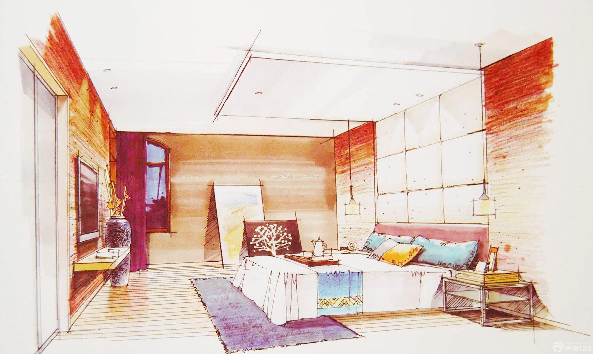 室内卧室设计手绘效果图大全2015