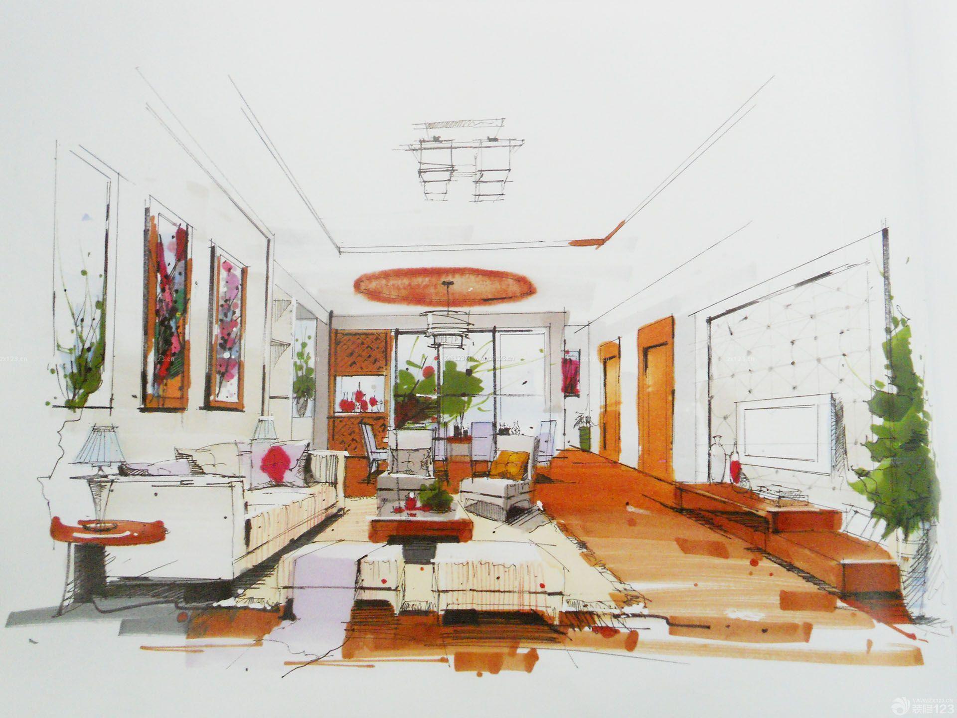 小户型客厅室内设计手绘效果图