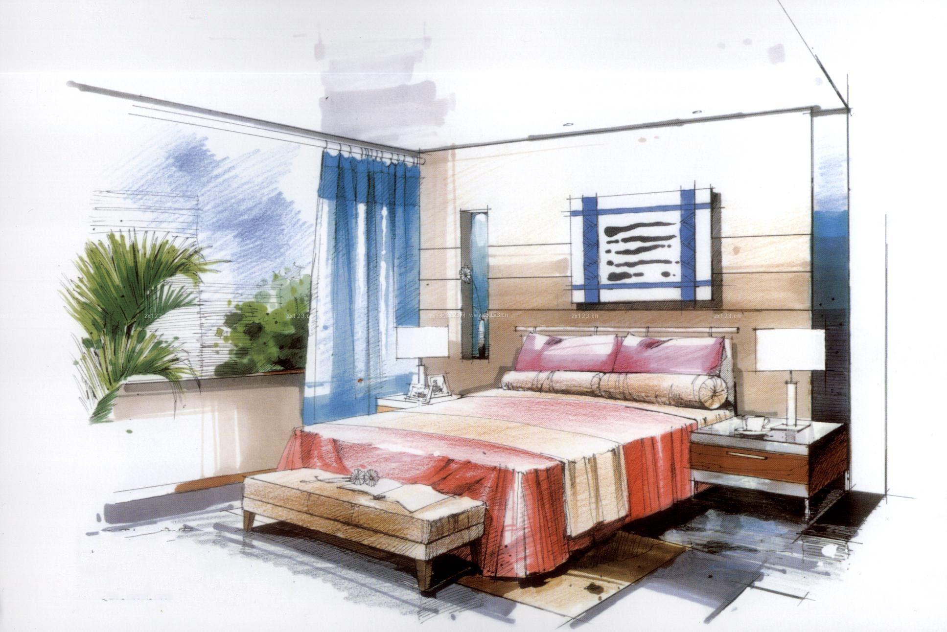 室内卧室窗帘设计手绘效果图欣赏