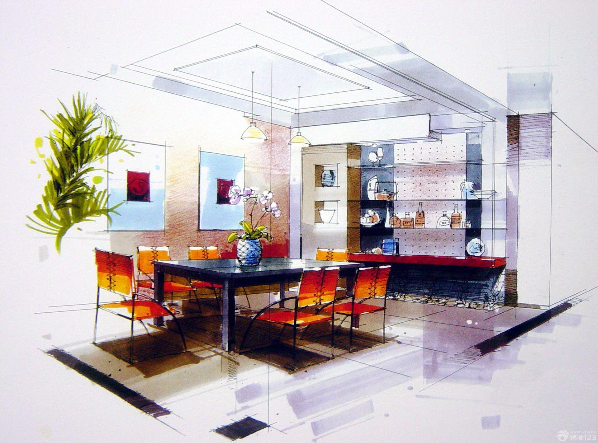 室内餐厅酒柜设计手绘效果图
