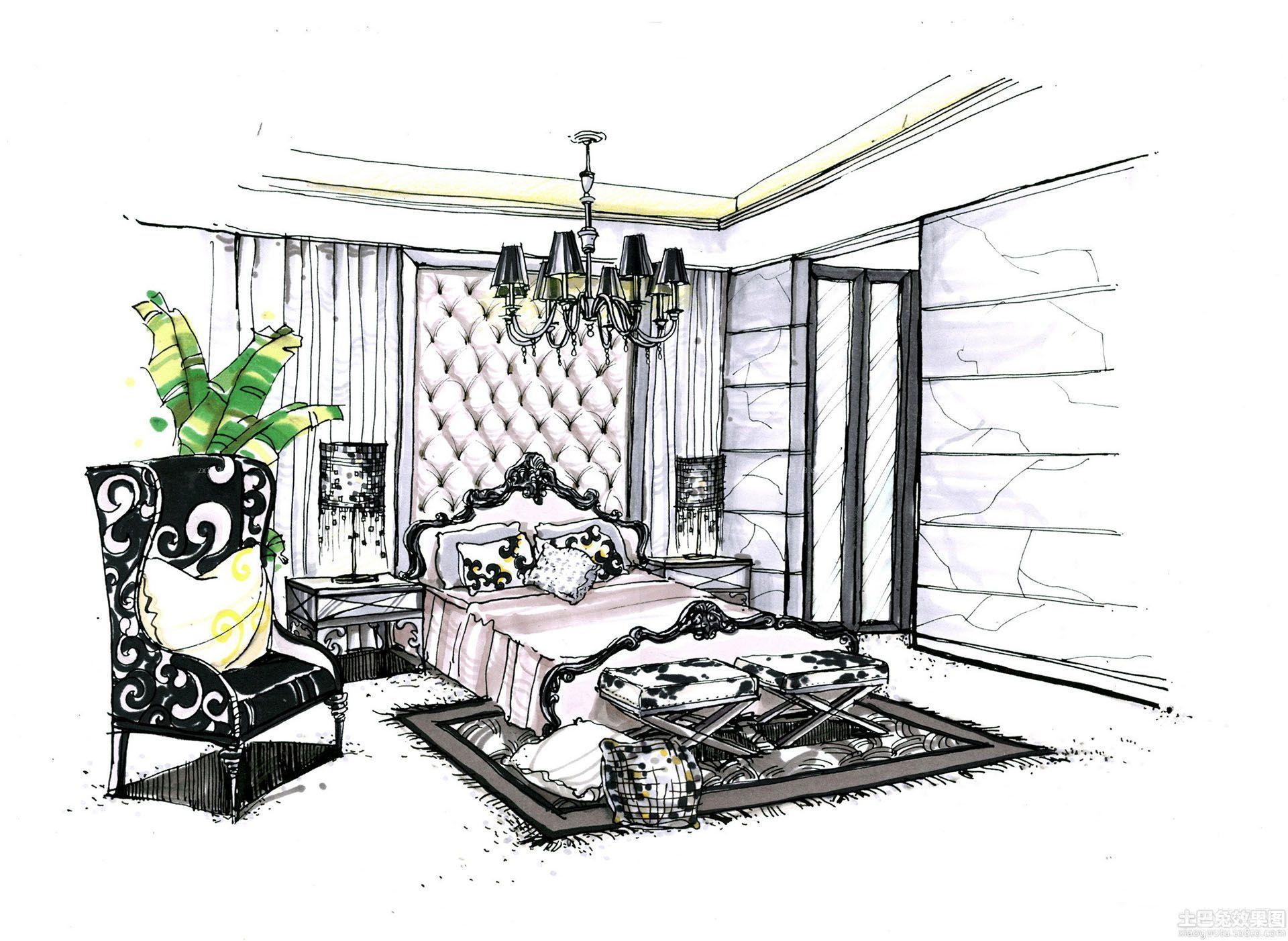 美式卧室室内设计手绘效果图