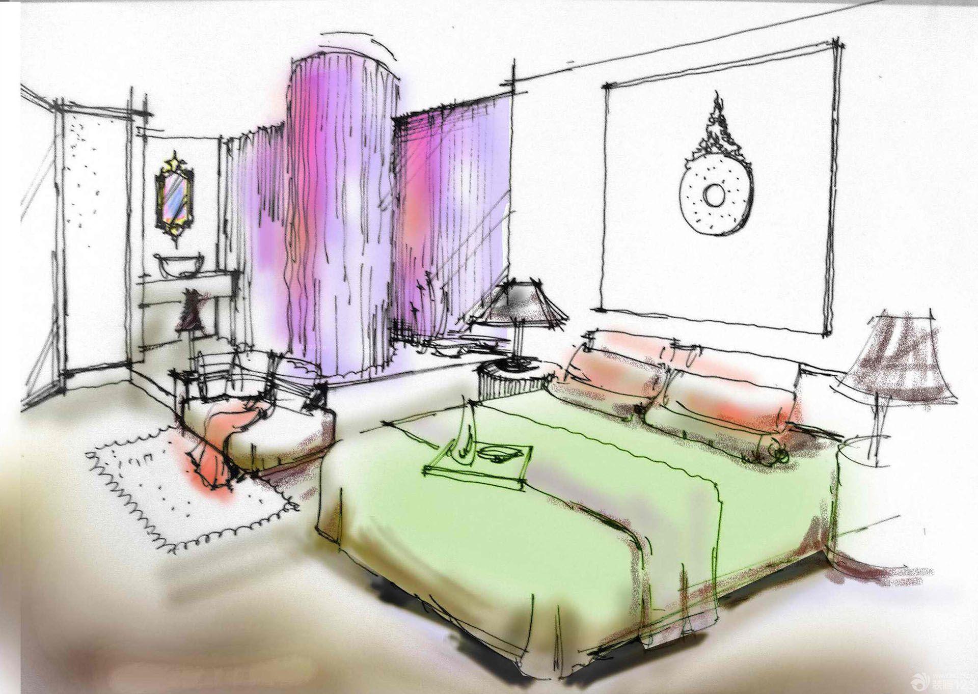 主卧室室内设计手绘效果图