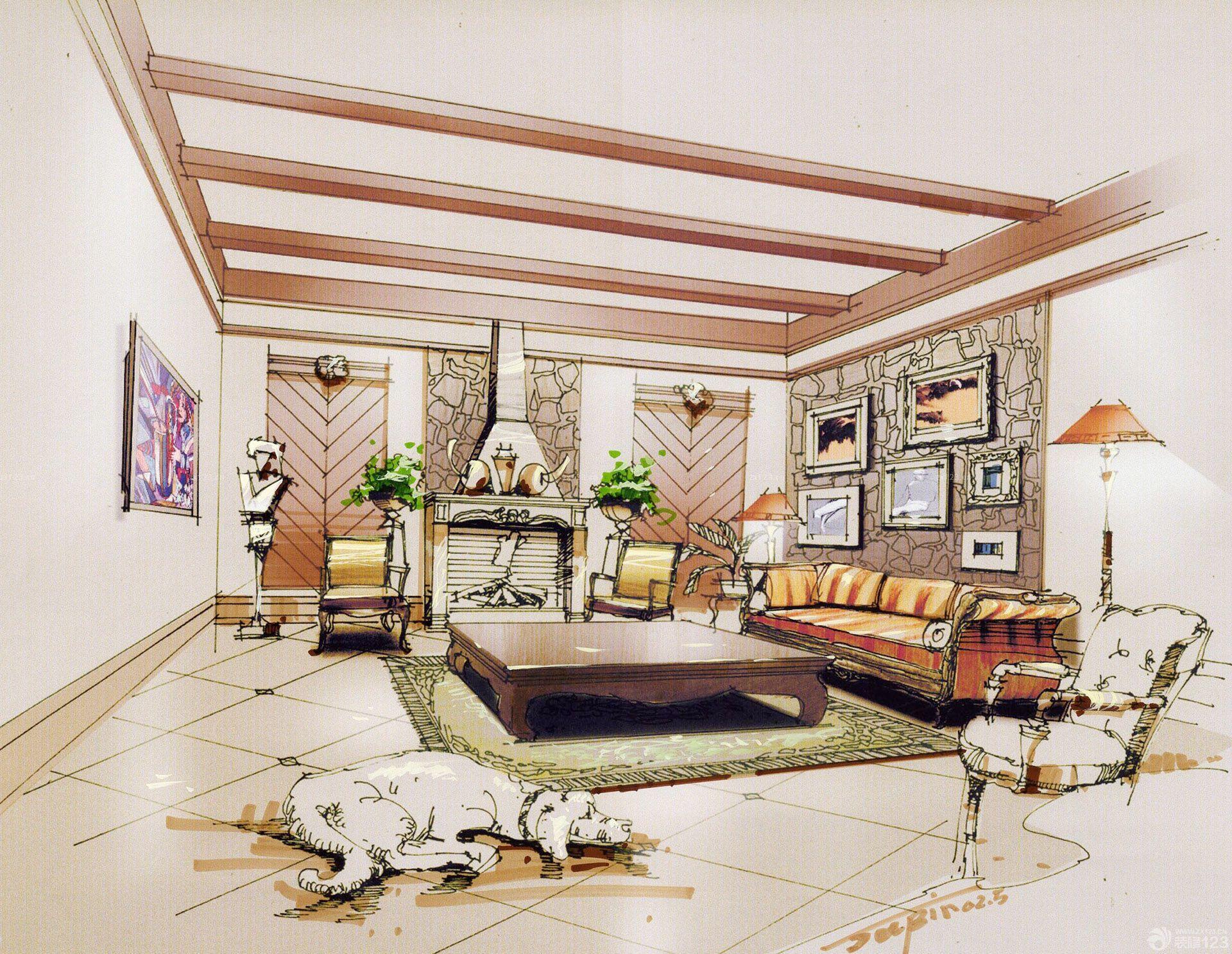 室内设计手绘效果图图稿大全_装修123效果图