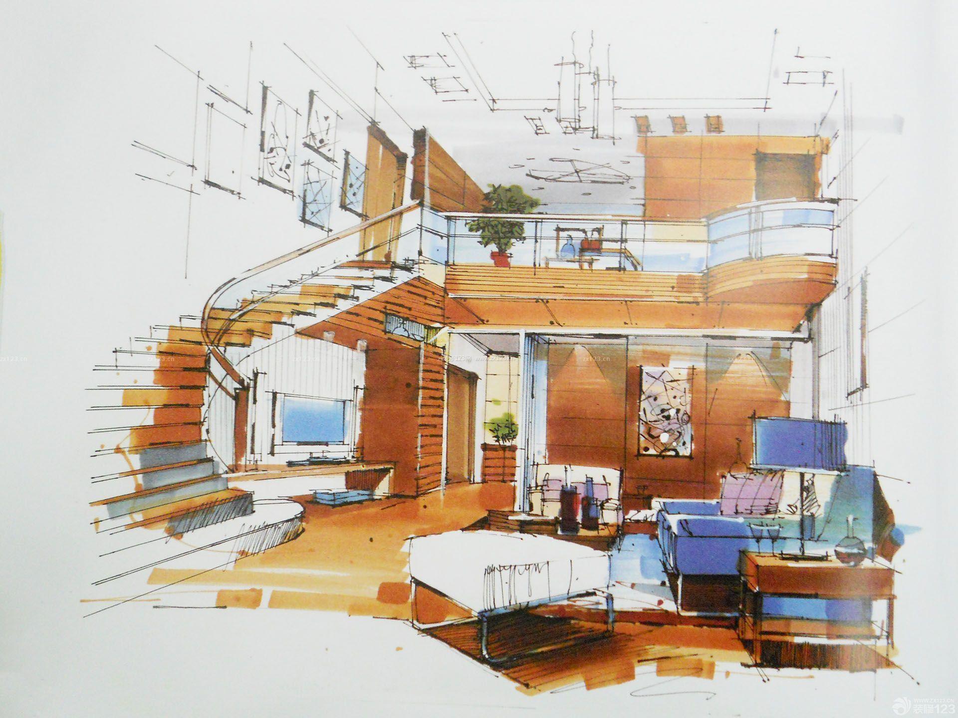 复式房室内楼梯设计手绘效果图