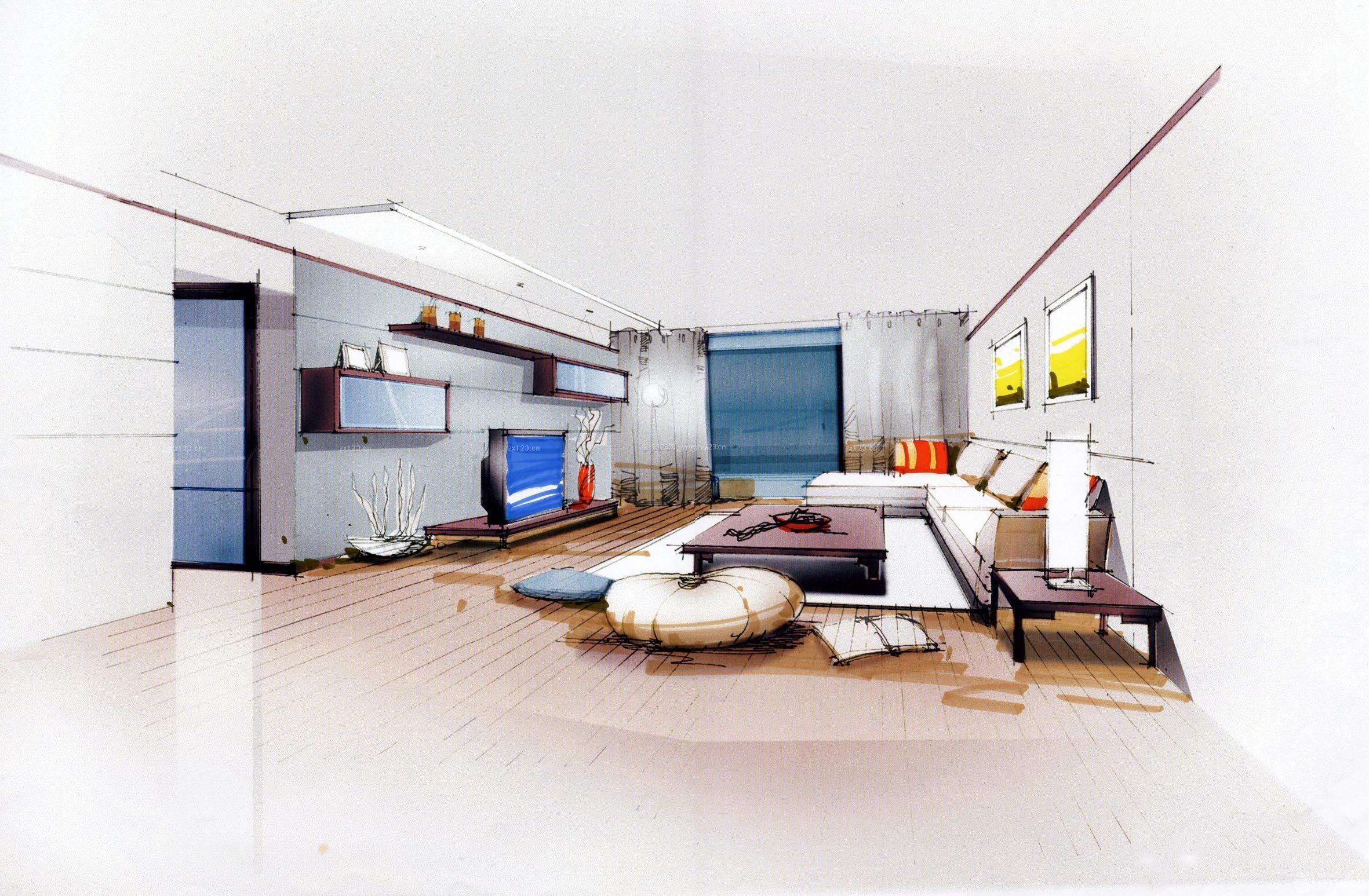 室内客厅家居设计手绘效果图片