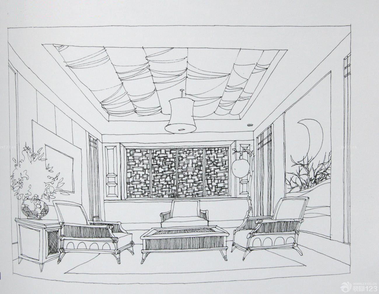 简约室内客厅设计手绘效果图