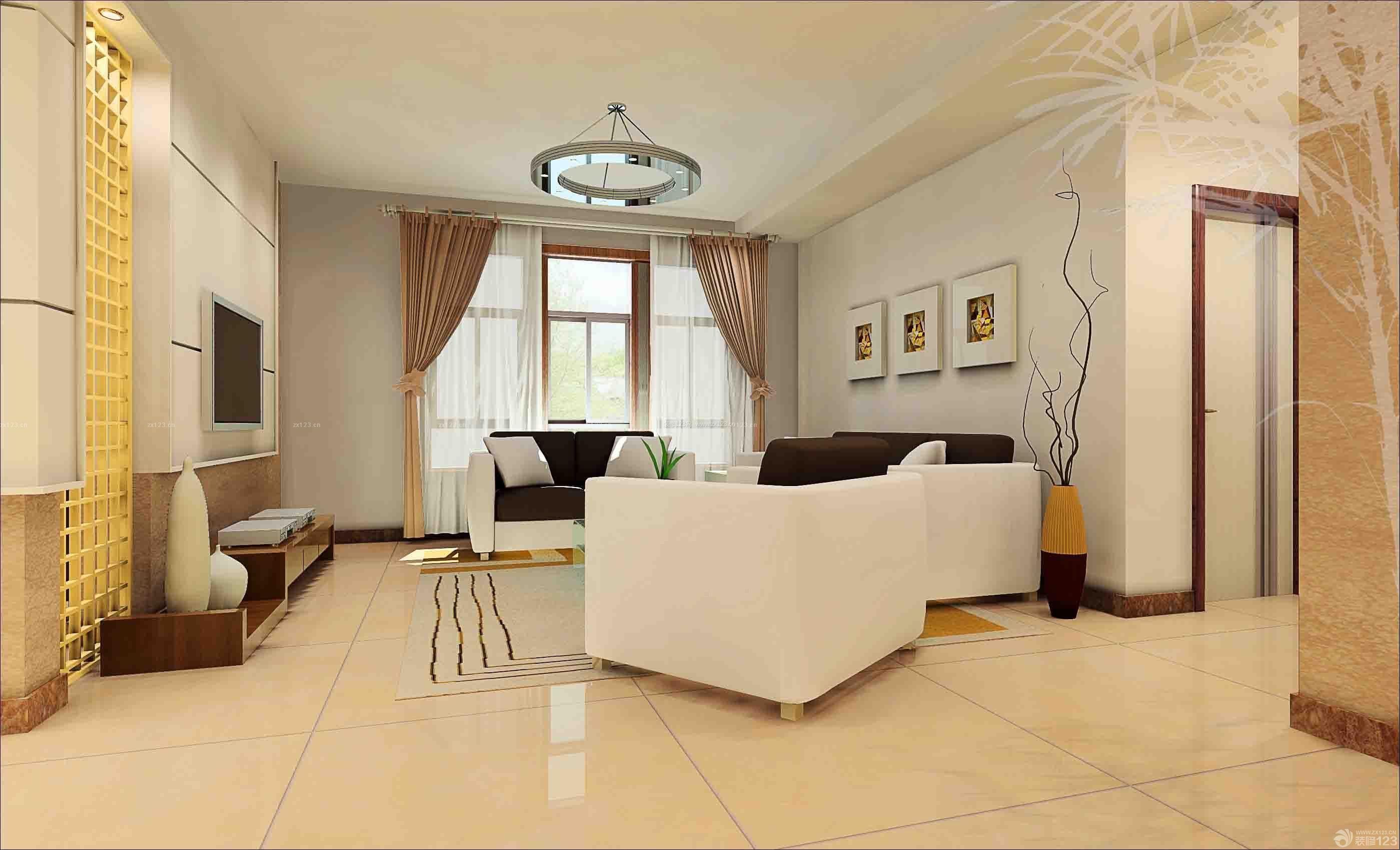 80平小户型现代简约客厅家具摆放装修效果图图片