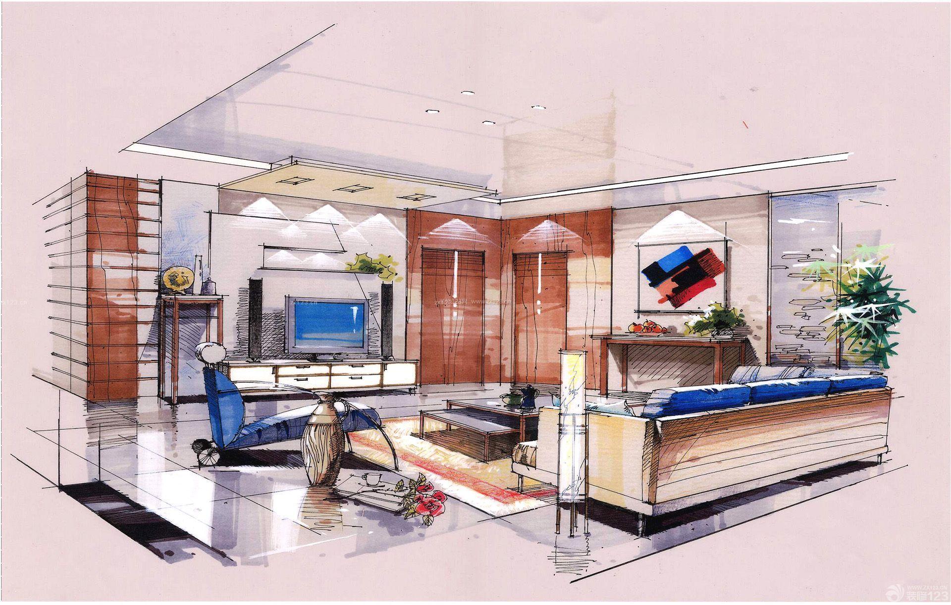 小户型室内大客厅设计手绘效果图