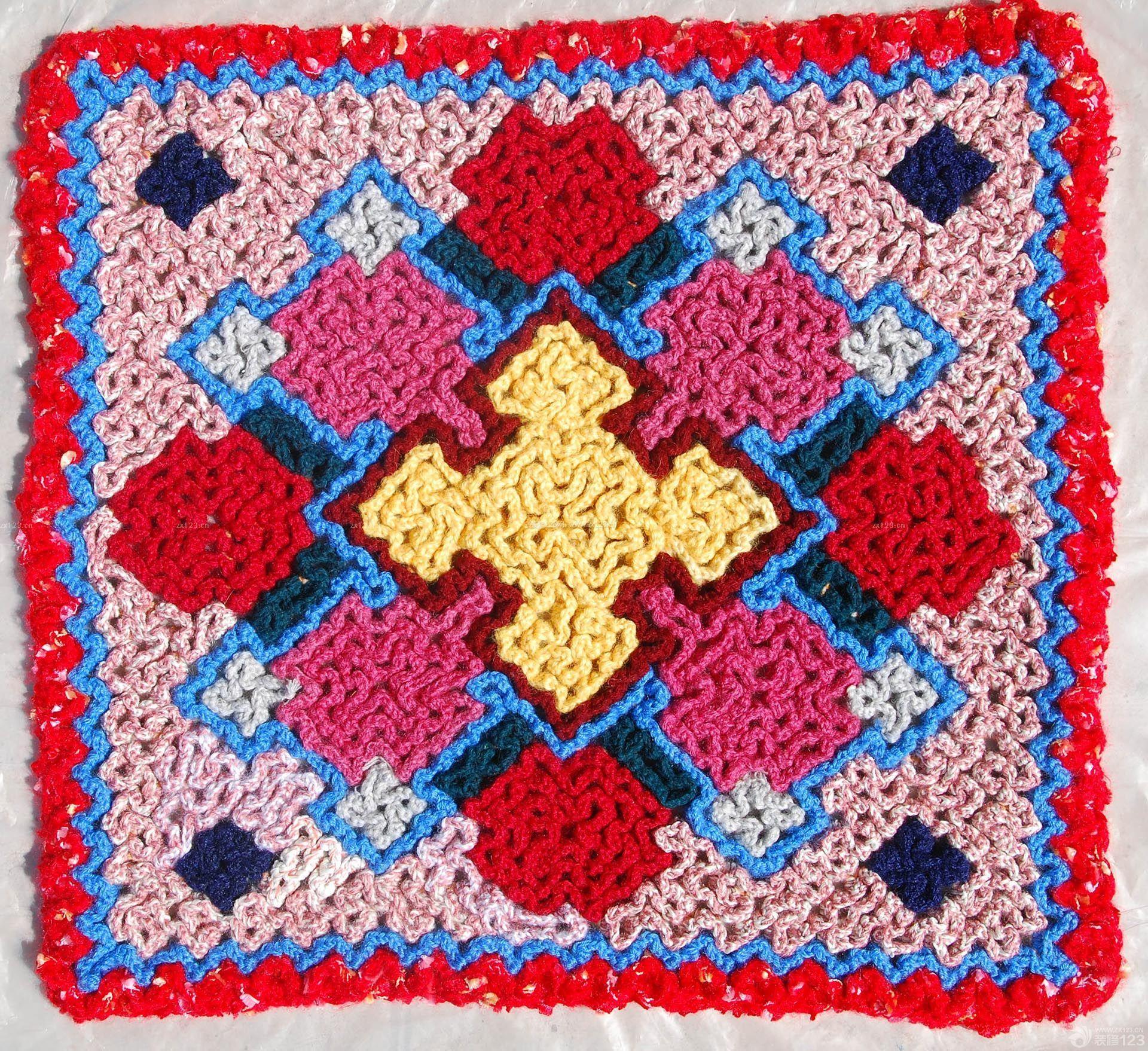 旧毛线编织坐垫图片欣赏