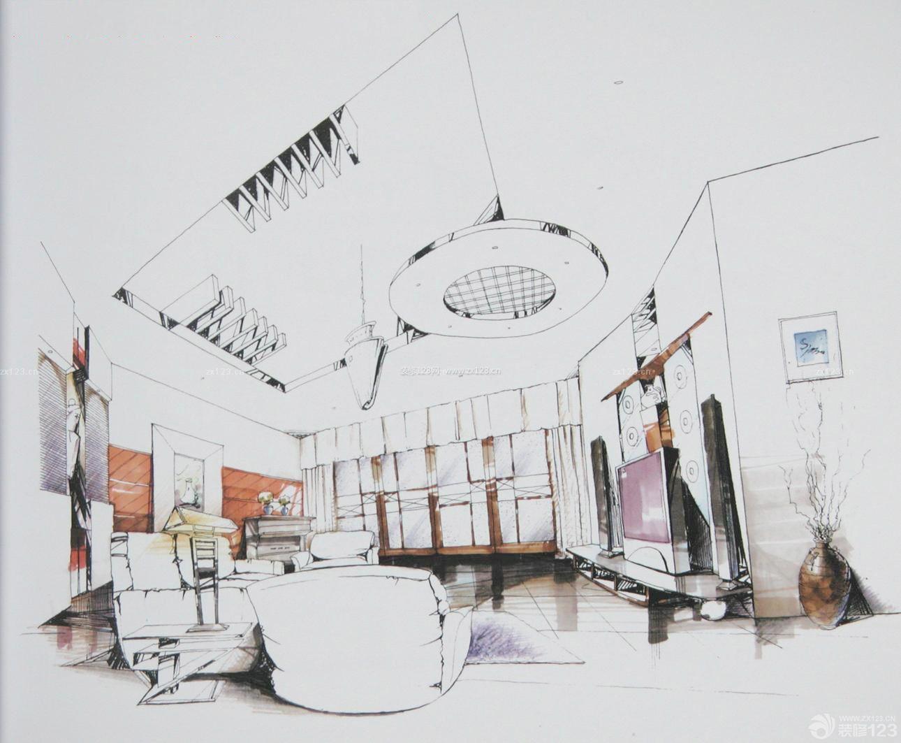 客厅室内吊顶设计手绘效果图2015图片