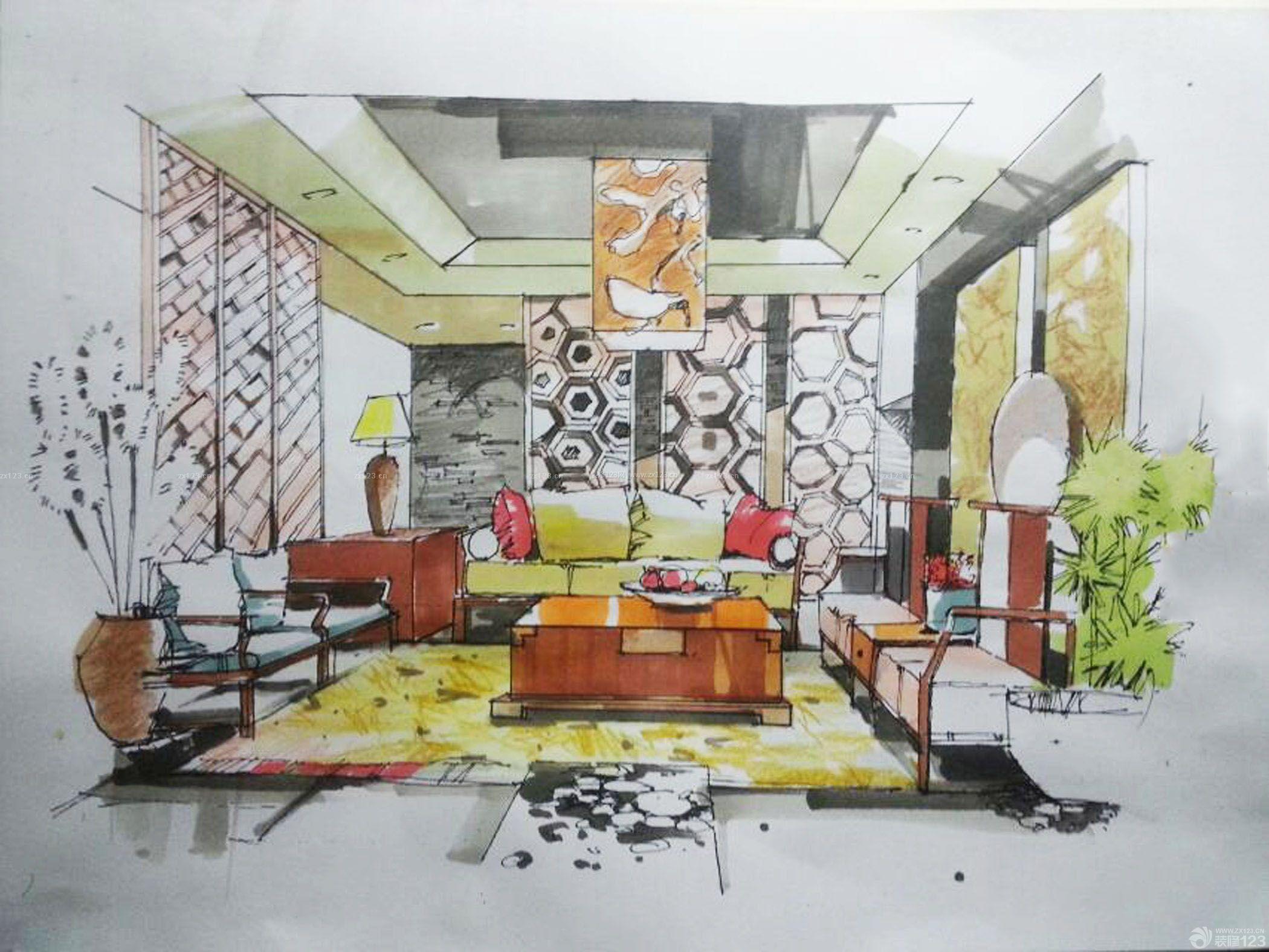 室内设计手绘效果图手稿图纸_装修123效果图