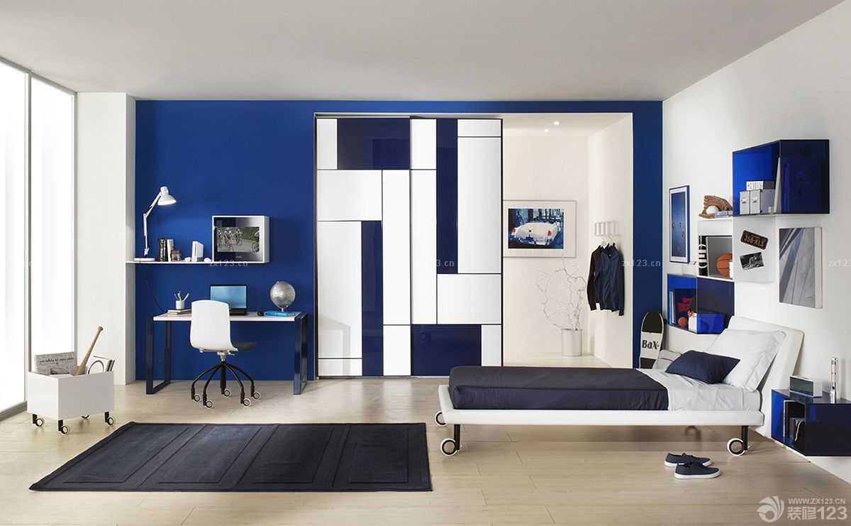 蓝色经典儿童房衣柜移门水晶效果图
