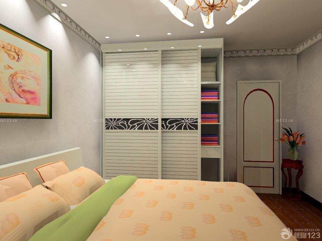 欧式装修卧室衣柜移门搭配效果图