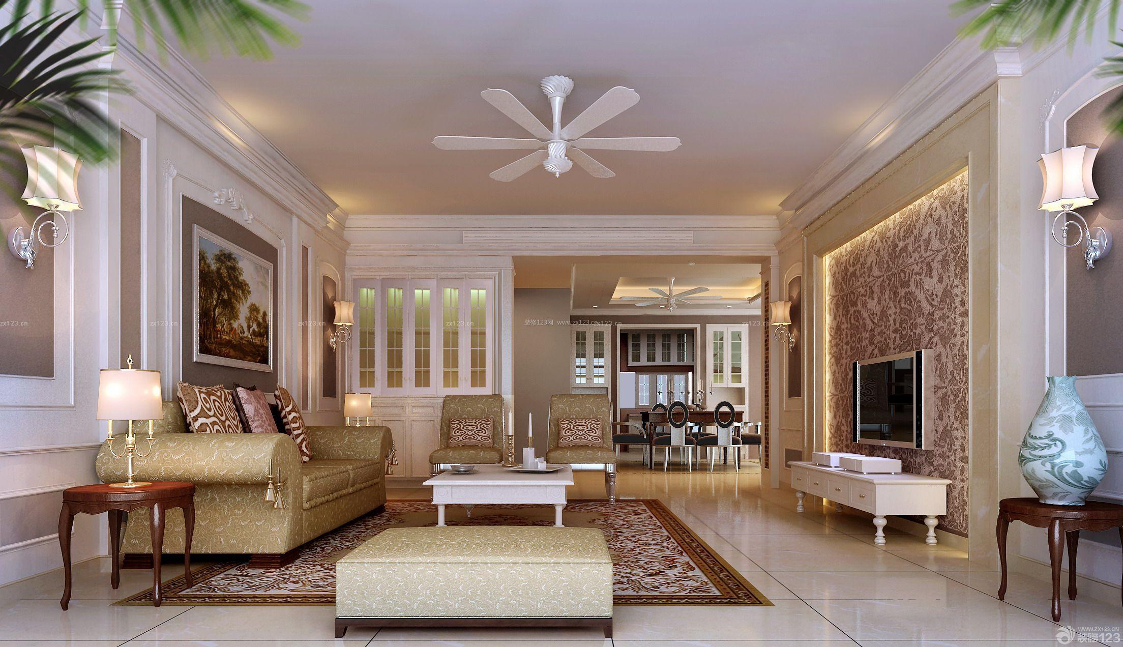 欧式风格客厅80平米房子装修效果图