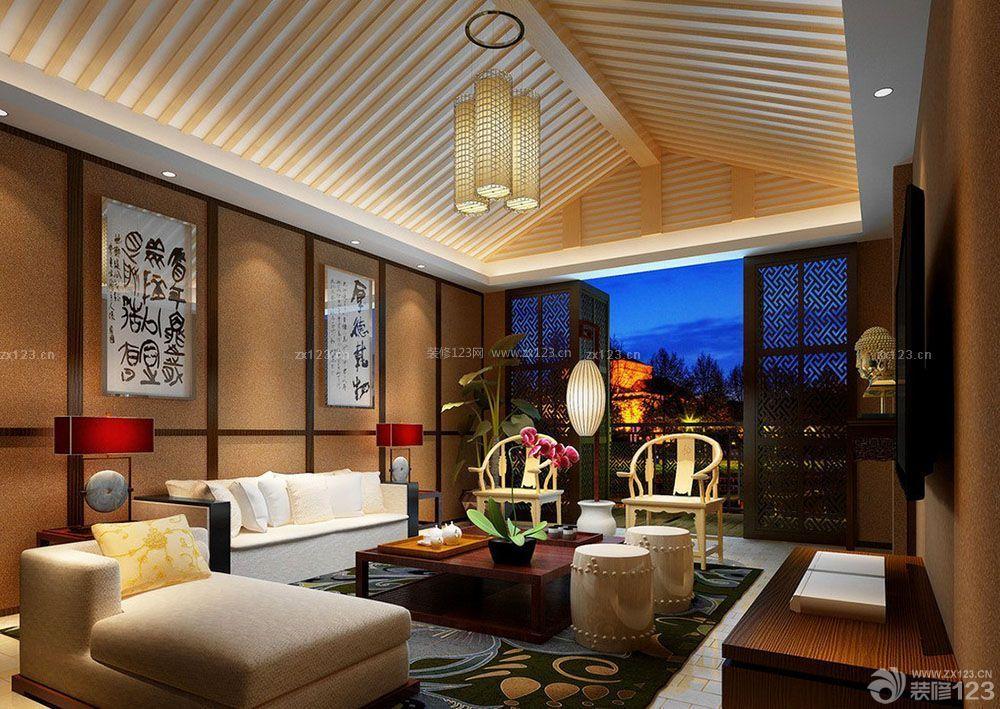 新中式风格房屋装修客厅吊顶效果图
