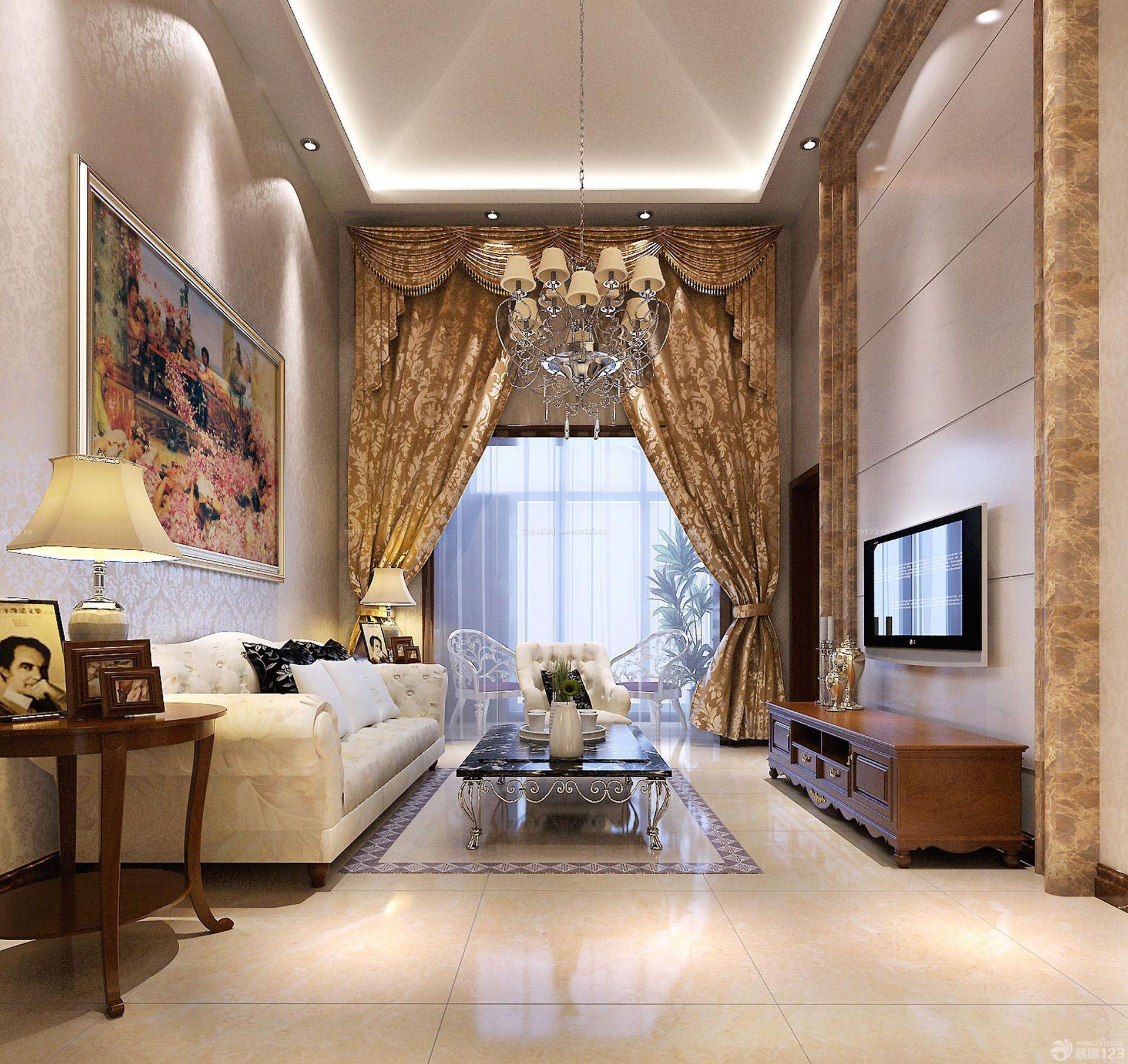 农村挑高客厅房子装修效果图图片