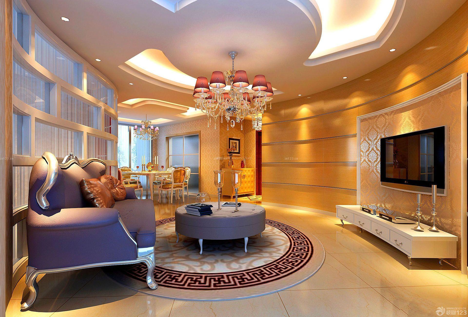欧美风格室内装�_欧美风格不规则客厅房子装修图片大全_装修1