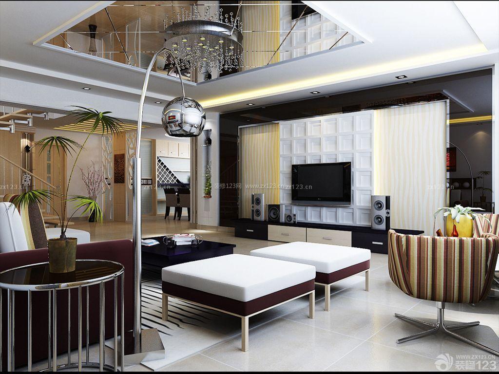 80平方楼中楼餐厅客厅一体装修效果图