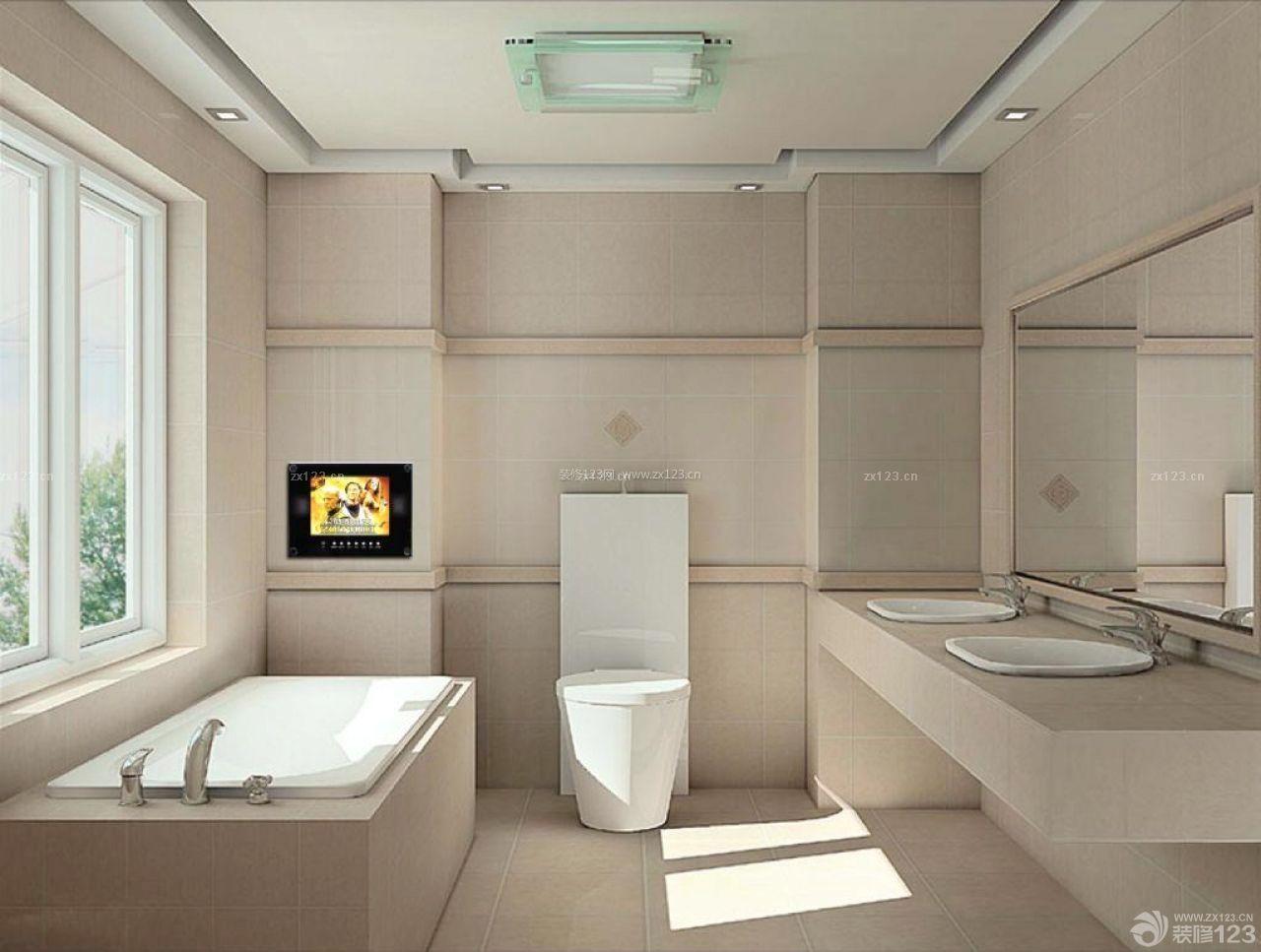现代时尚房子卫生间浴室装修设计效果图