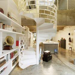 80平方楼中楼旋转楼梯设计装修效果图图片