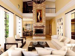 現代風格別墅復式樓客廳布藝沙發套圖片