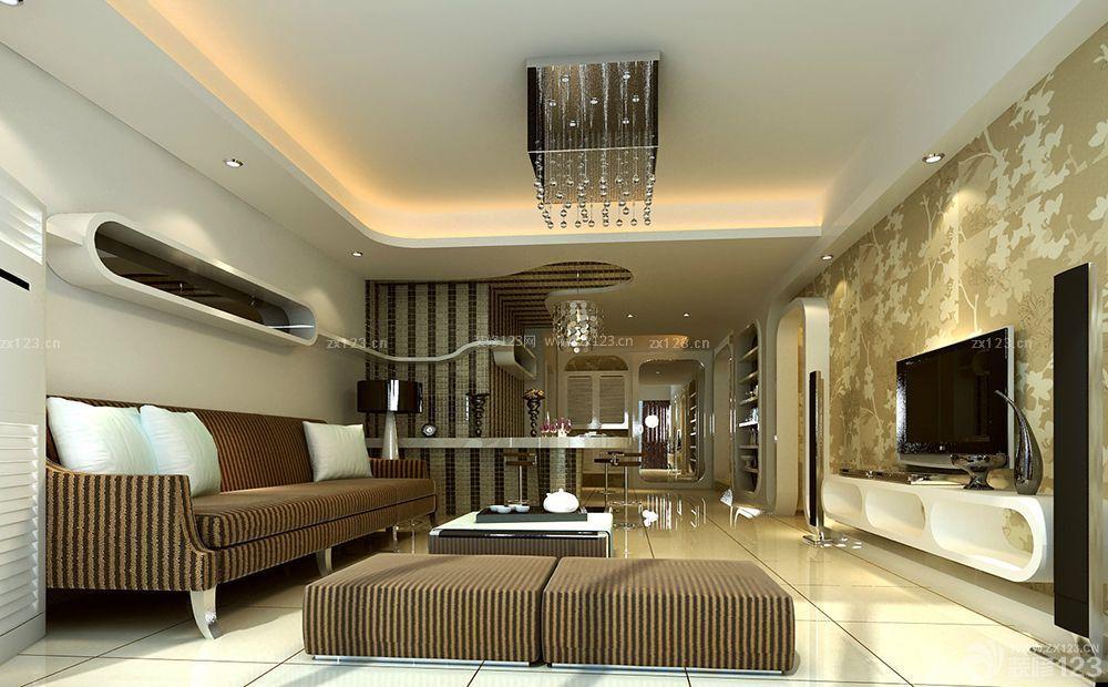 现代风格房屋客厅石膏板吊顶装修效果图大全