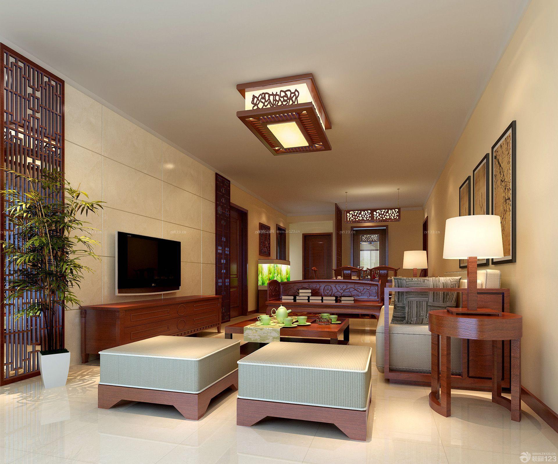 中式140平米的房子红木客厅装修效果图