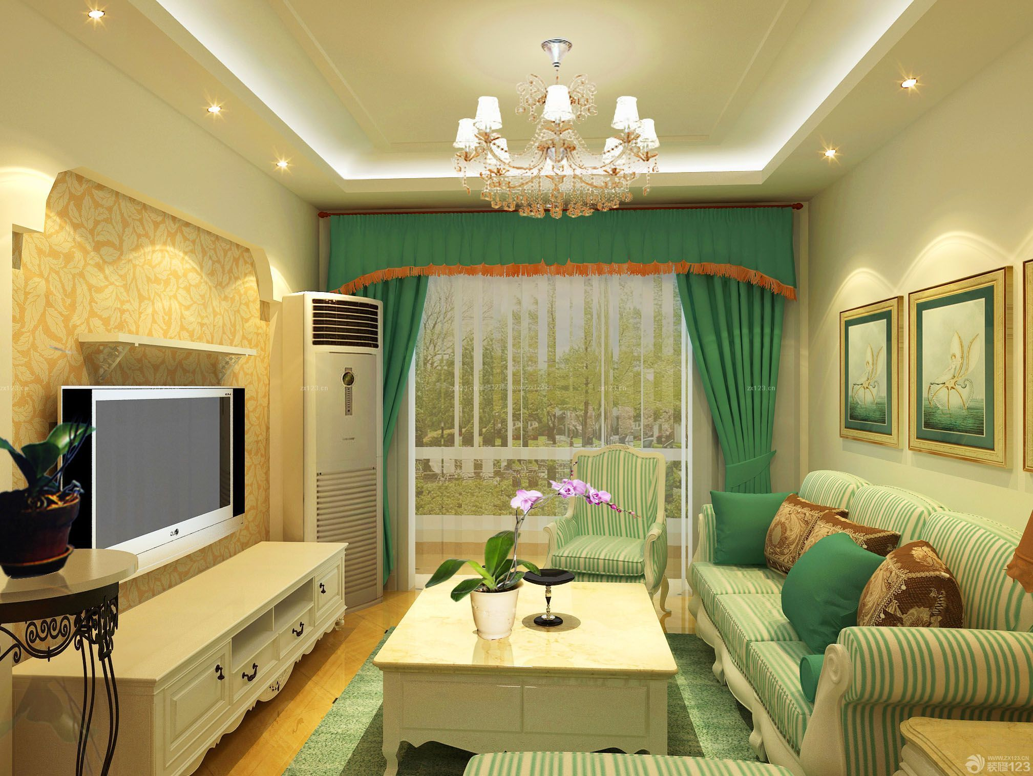 家装效果图 田园 田园风格80平两室一厅装修图大全 提供者