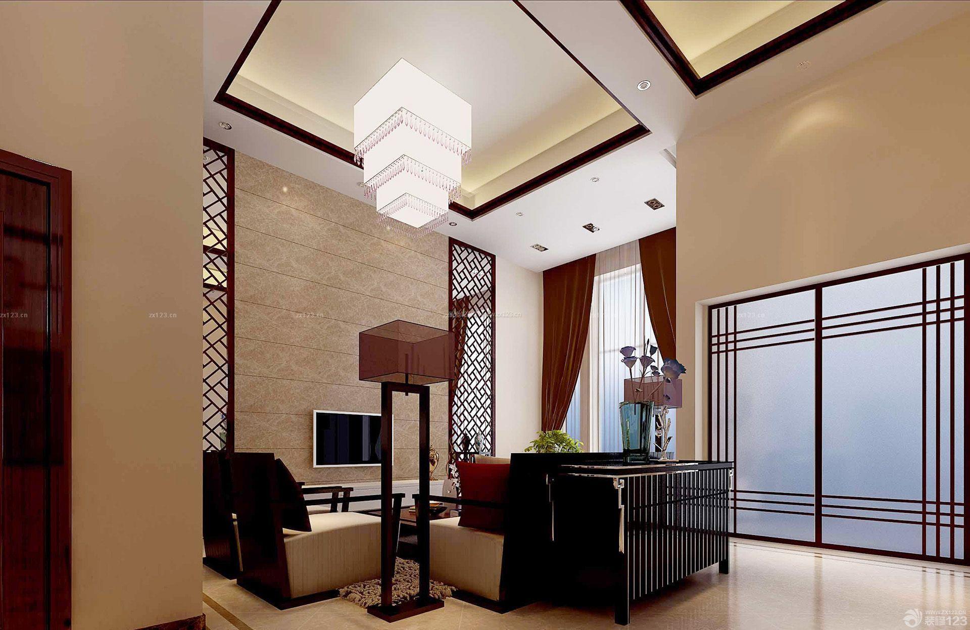 中式风格挑高客厅房屋装修效果图大全90