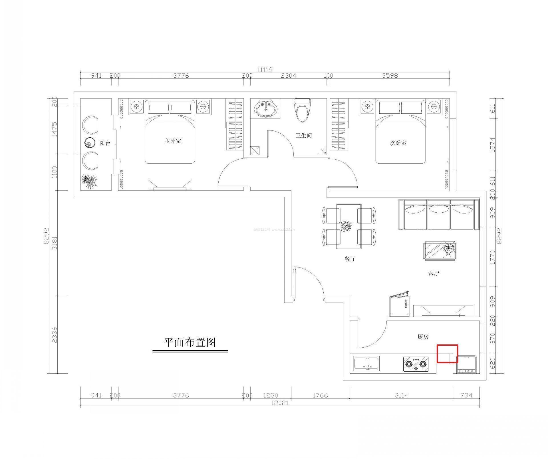 最新两室两厅90平米农村别墅户型图