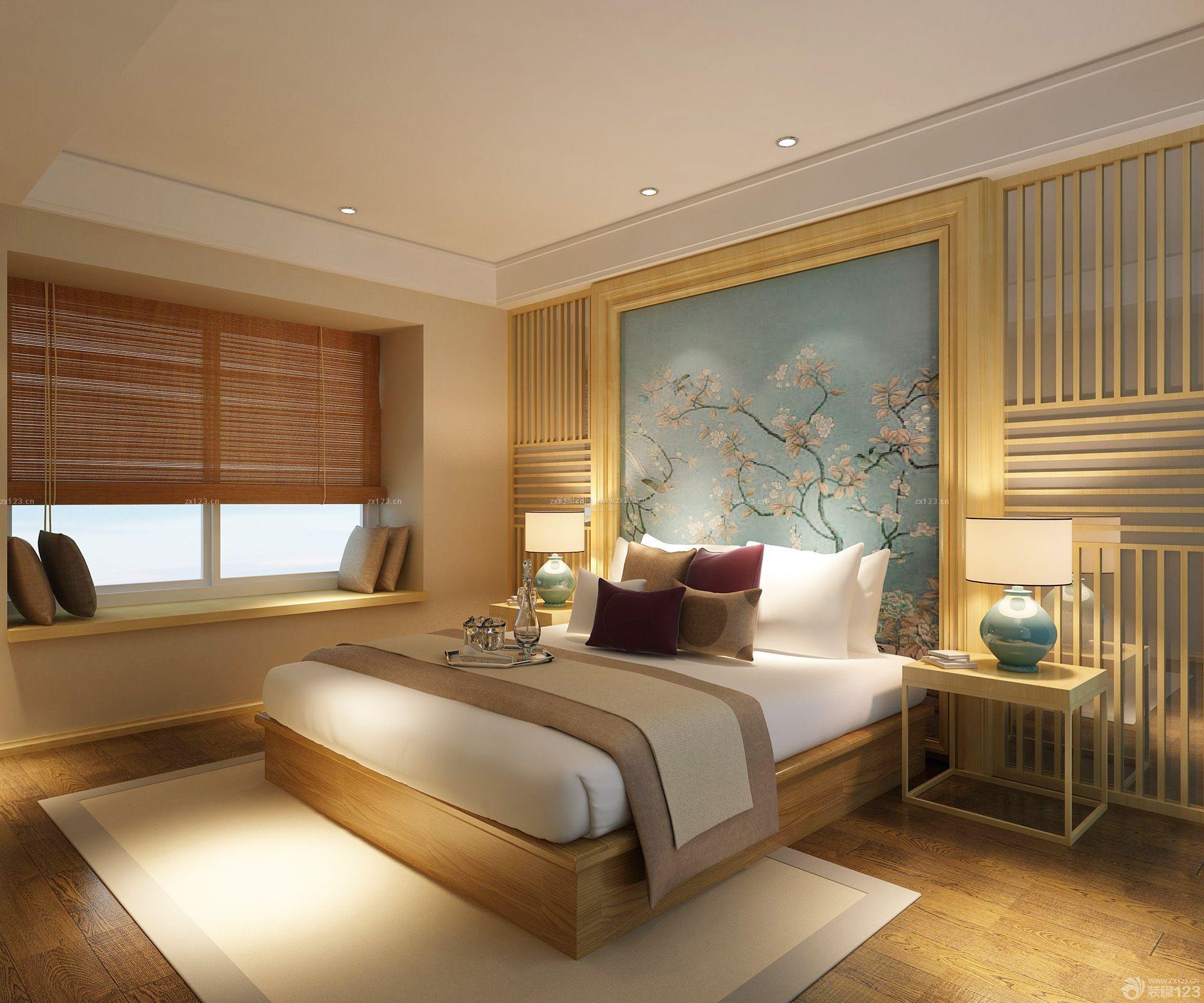 93平米中式壁画卧室房子装修效果图