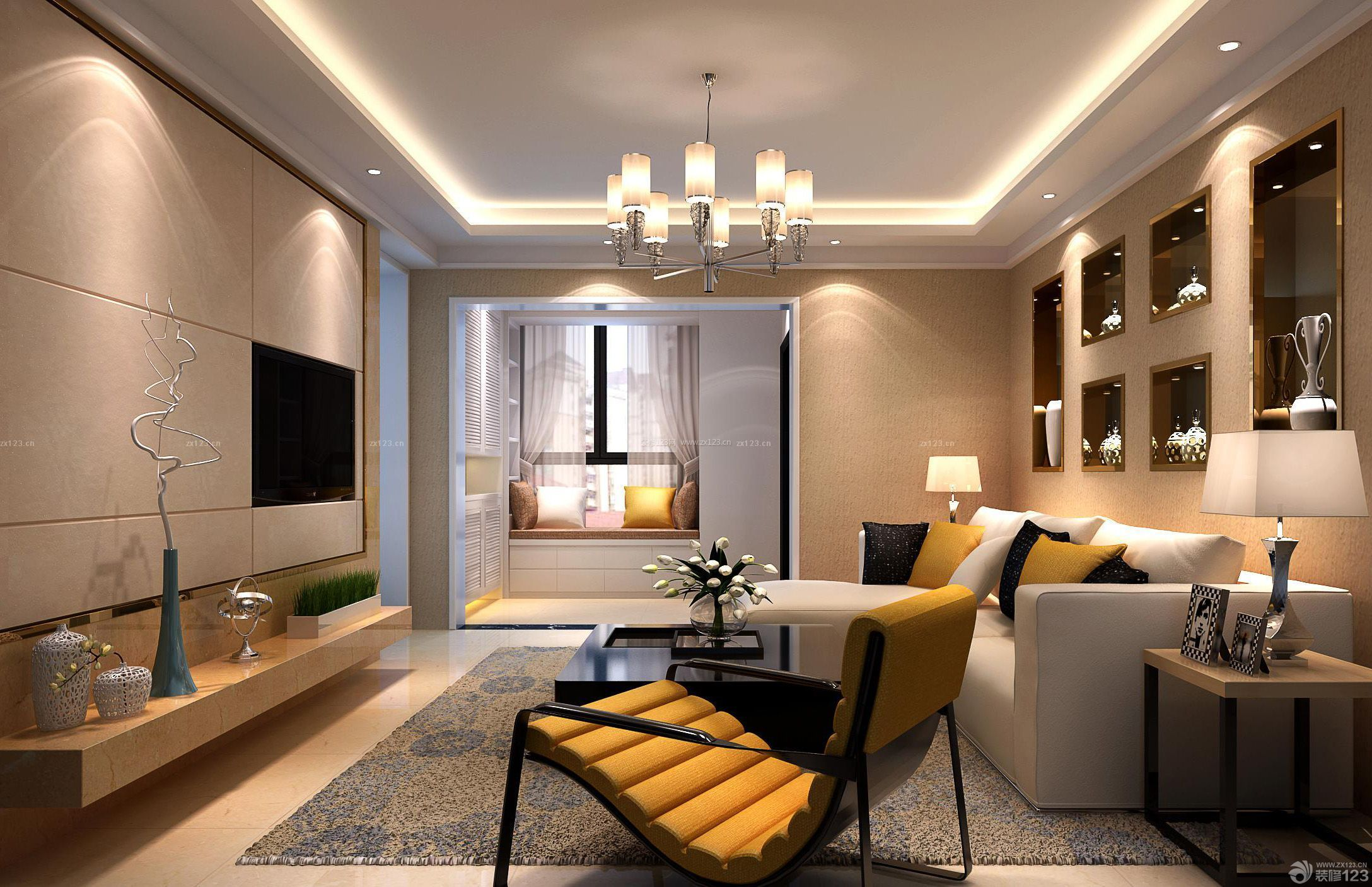 房子吊灯设计修现代欧式简约风格图片