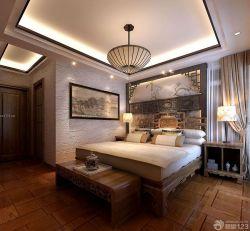 房子中式臥室床頭背景墻裝修效果圖