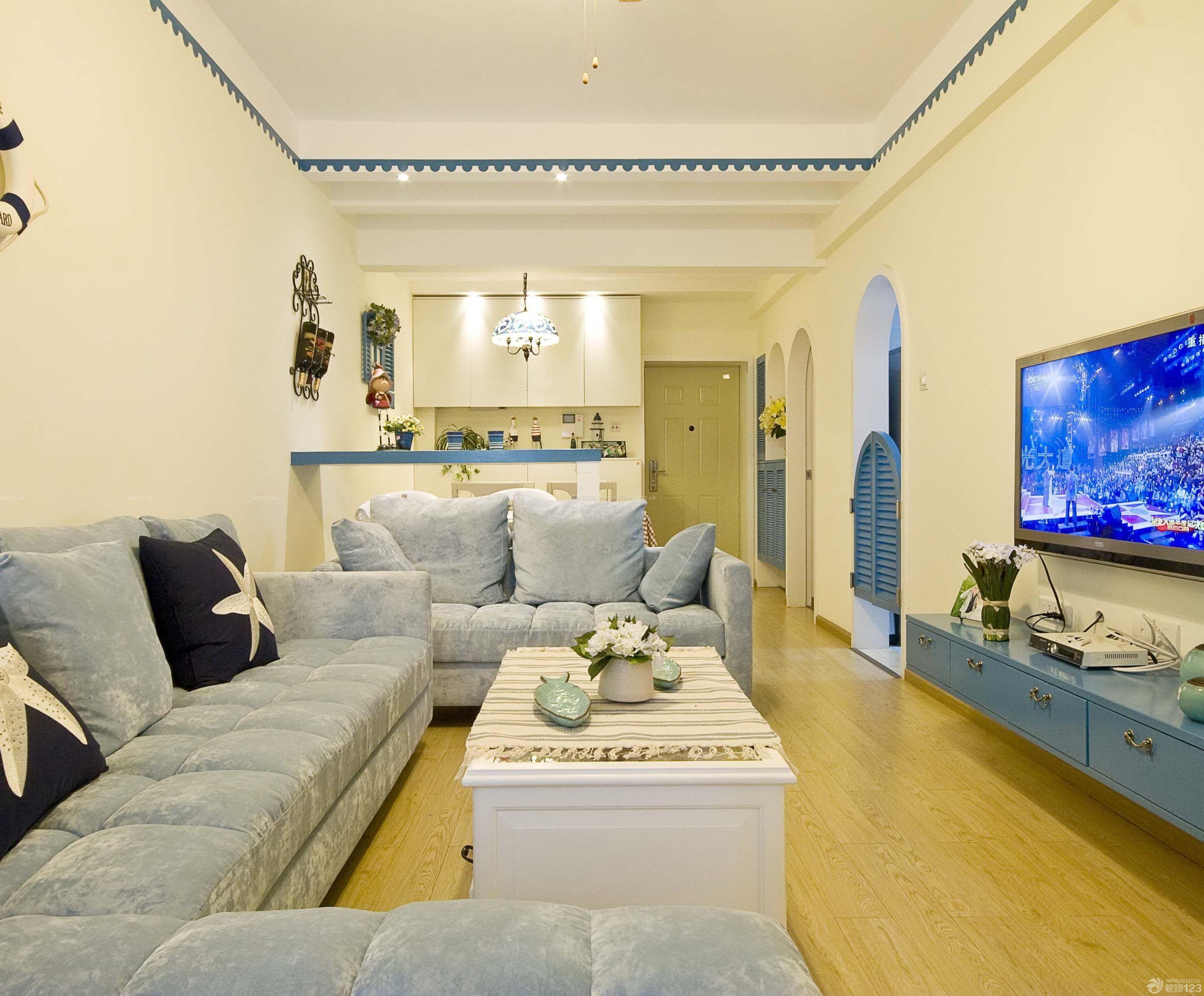地中海风格家居一楼90平米房屋装修效果图