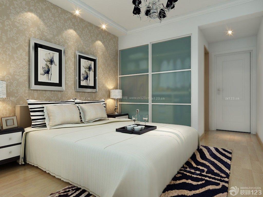 简单房子卧室欧式花纹壁纸装修效果图