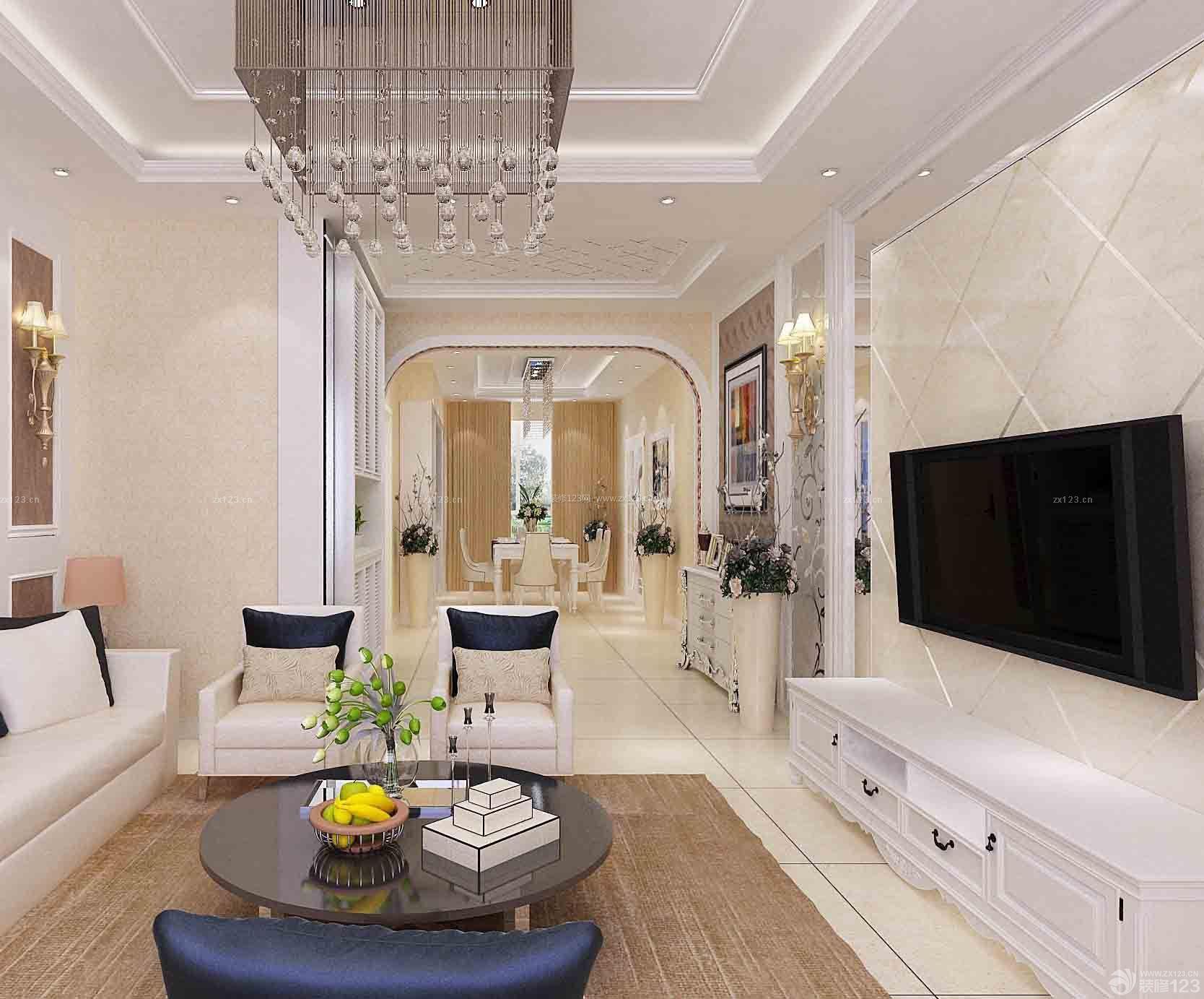 现代美式风格三室一厅一卫90平米房屋装修效果图图片