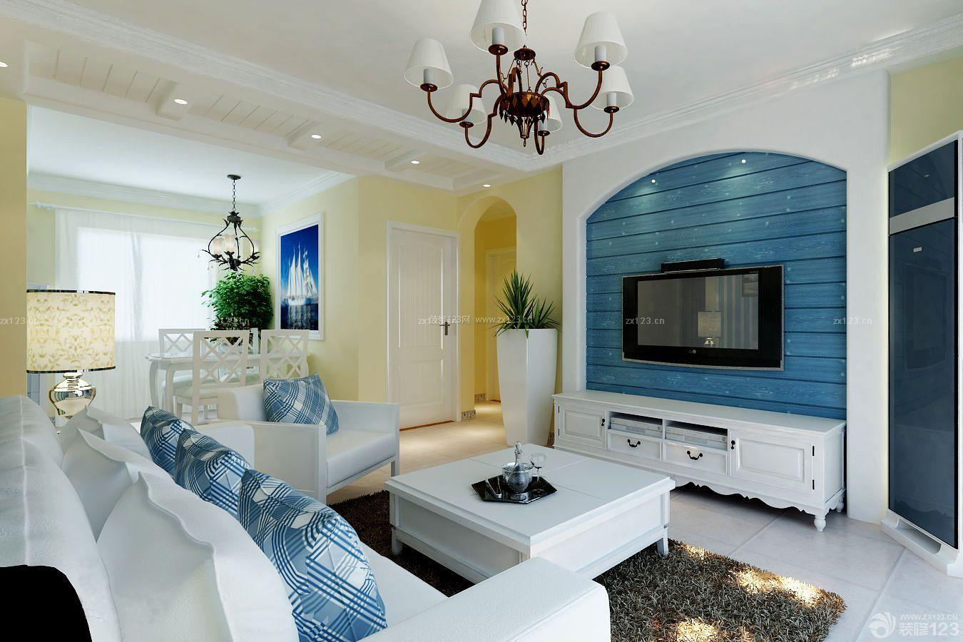 简约地中海风格简单房屋客厅装修效果图