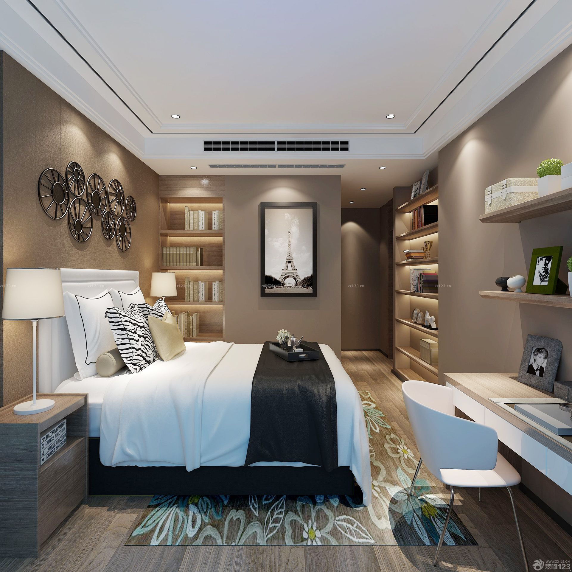 现代风格三室两厅80后家装设计效果图