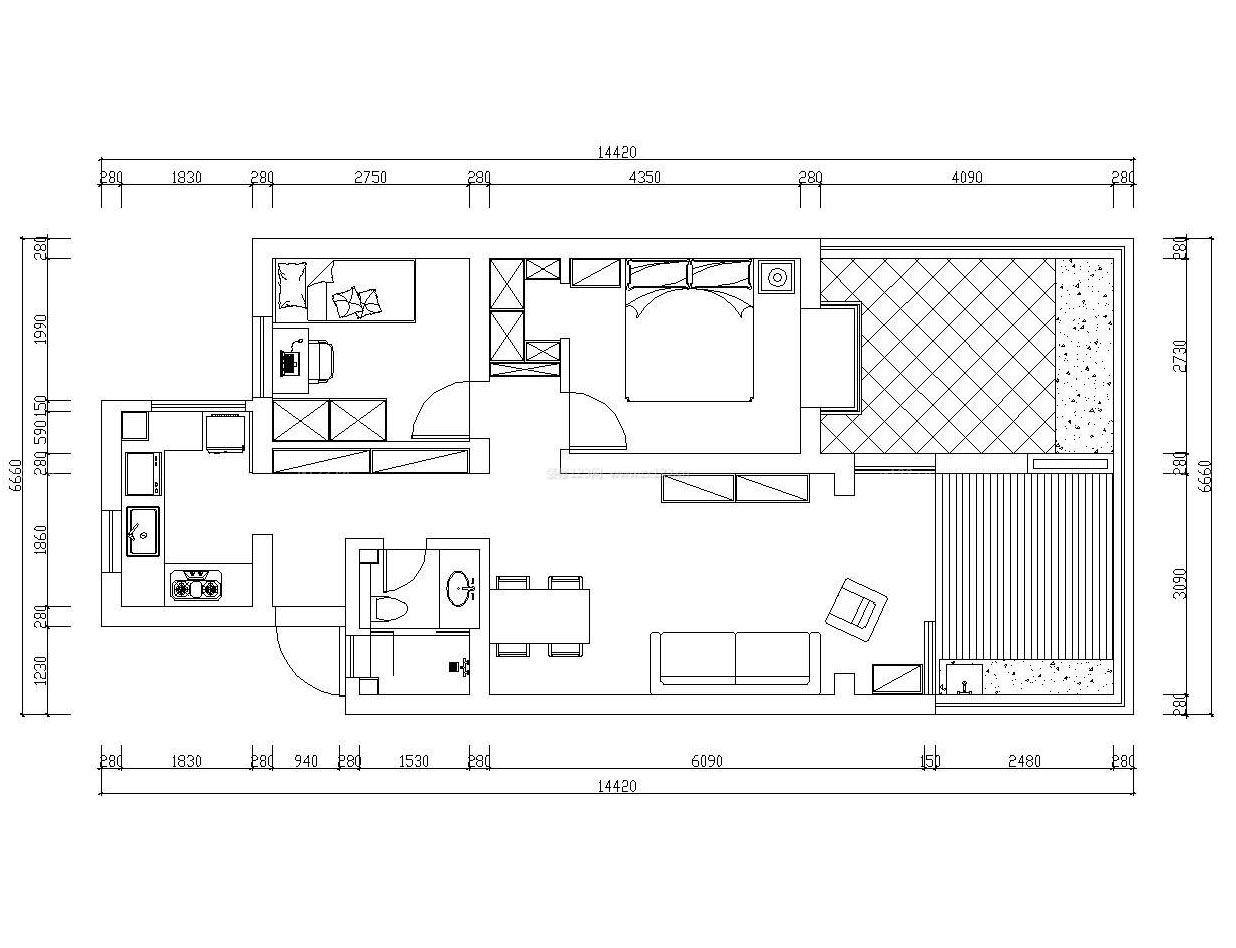 2015家庭90平方米别墅室内设计图纸大全