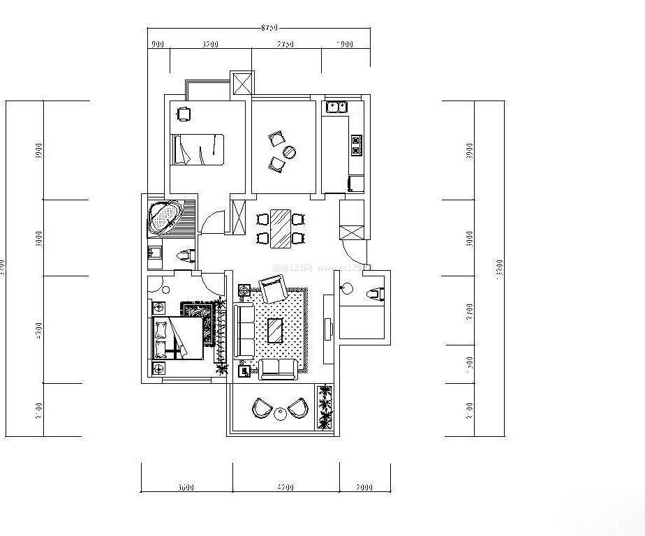 家庭90平方米别墅室内设计图纸大全