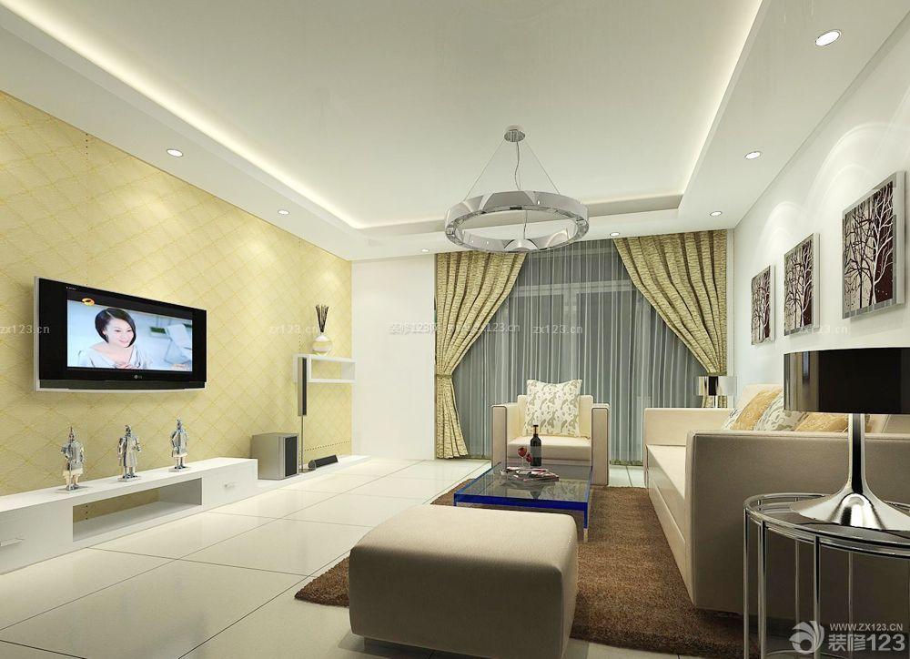现代室内客厅吊灯装修与设计效果图片