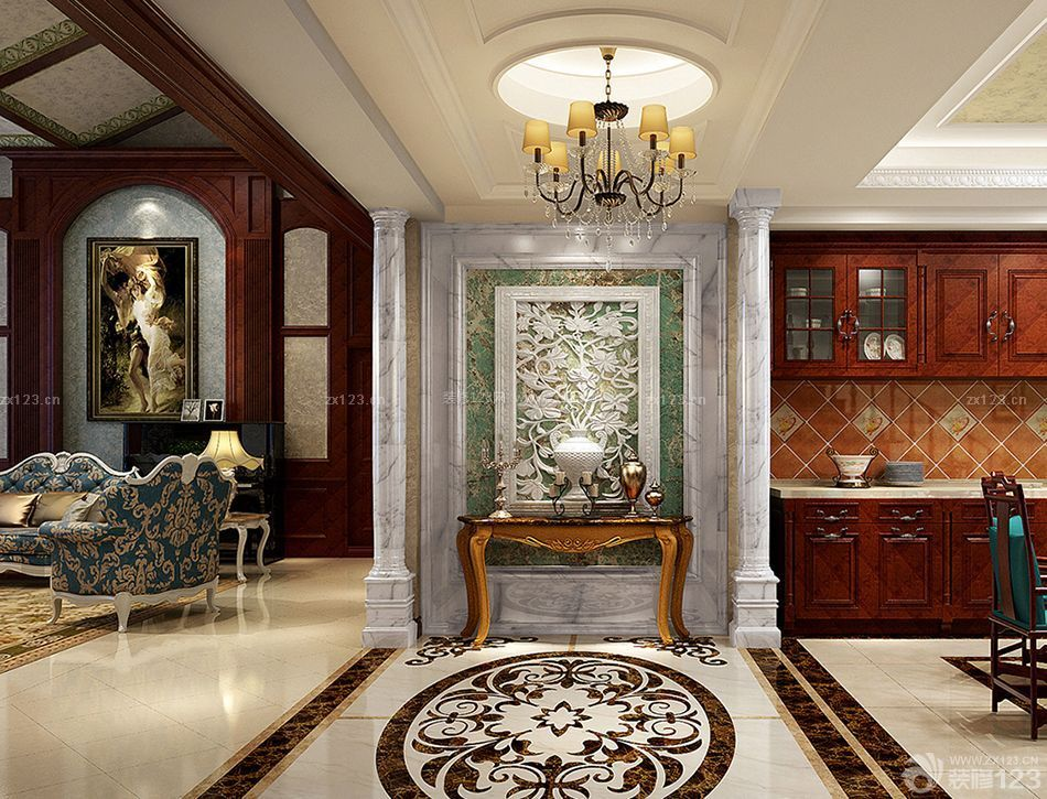 欧式家庭房屋室内玄关设计装修效果图