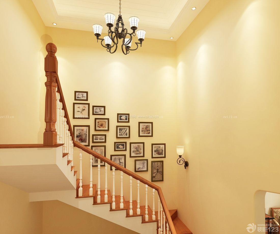 欧式楼梯间黄色墙面装修效果图片