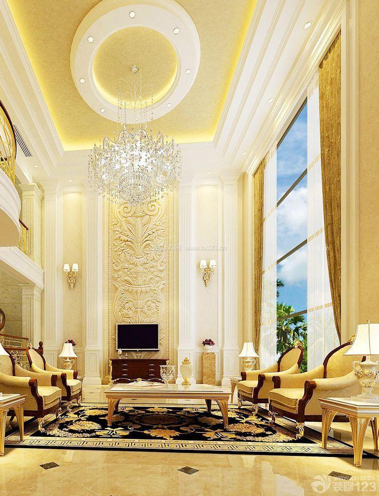 欧式室内客厅圆形吊顶装修与设计图片