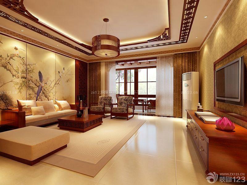中式房子室内壁画设计装修效果图