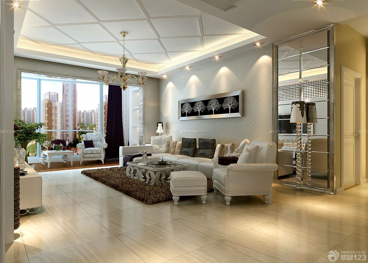 镜面背景墙客厅简欧式装修效果图图片