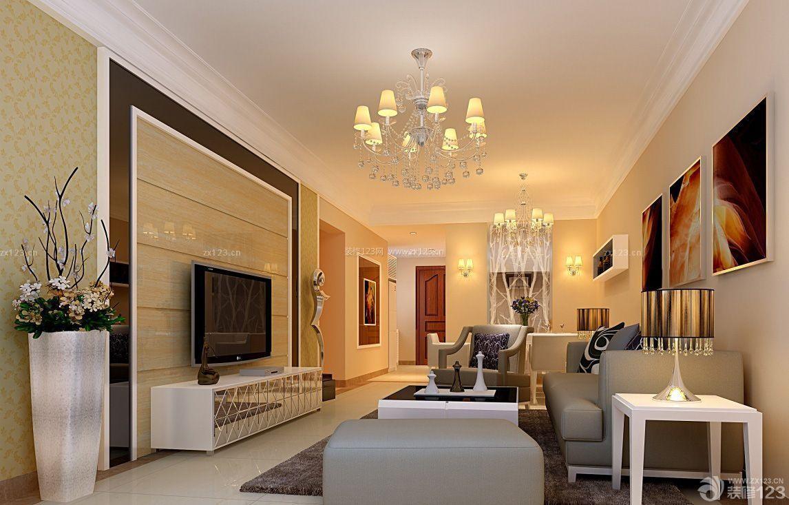客厅吊灯简欧式装修效果图图片