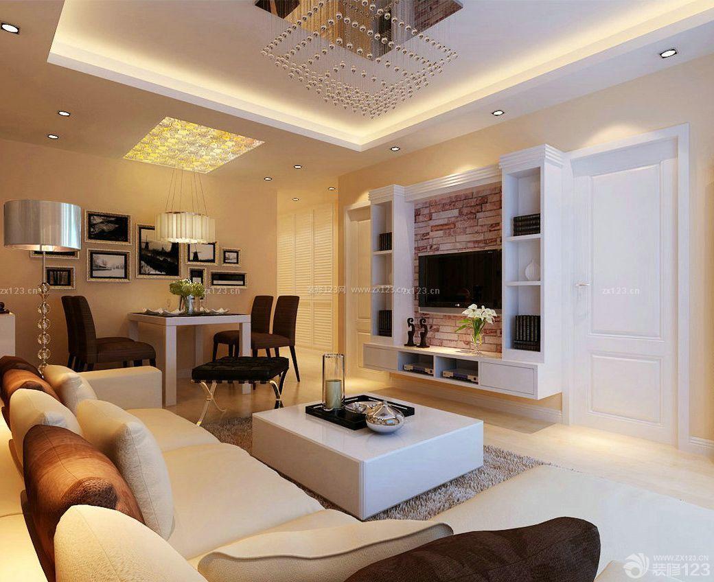 现代房屋90平米简约风格背景墙装修效果图片